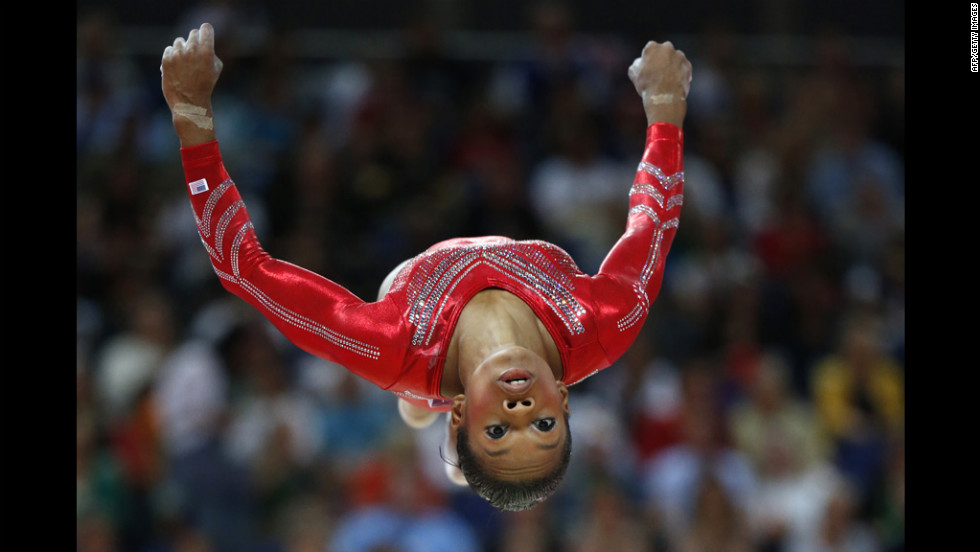 U.S. gymnast Gabrielle Douglas performs on the beam during the women's team final of the gymnastics event.