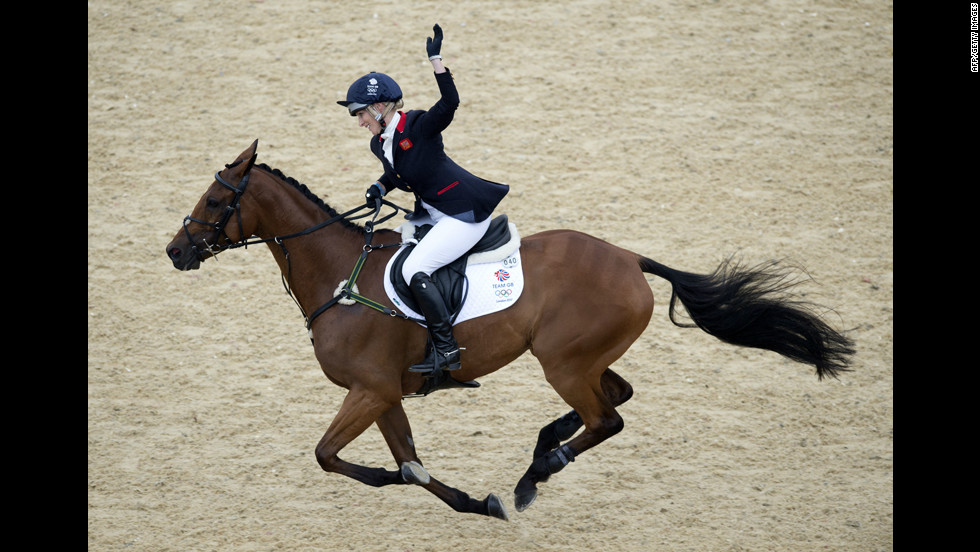 Great Britain's Zara Phillips, riding High Kingdom, reacts after competing in individual eventing.