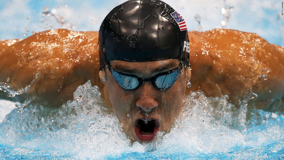 Phelps competes in the 200-meter butterfly in London.