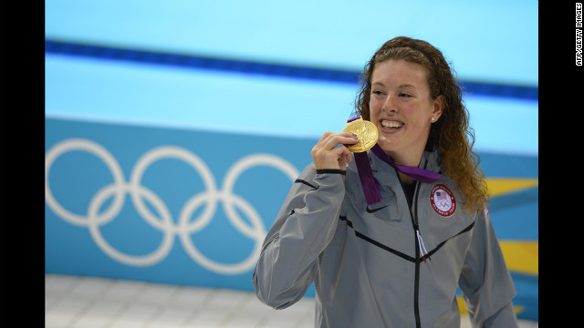 Allison Schmitt celebrates her win in the women's 200-meter freestyle final at the 2012 London Games.