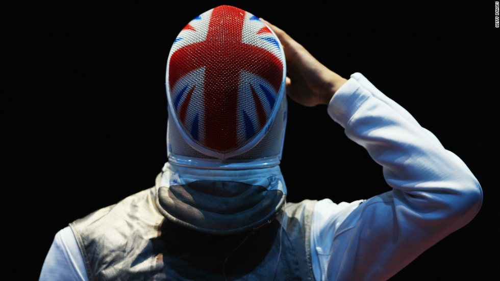 Britain's Husayn Rosowsky prepares for men's foil individual competition Tuesday.