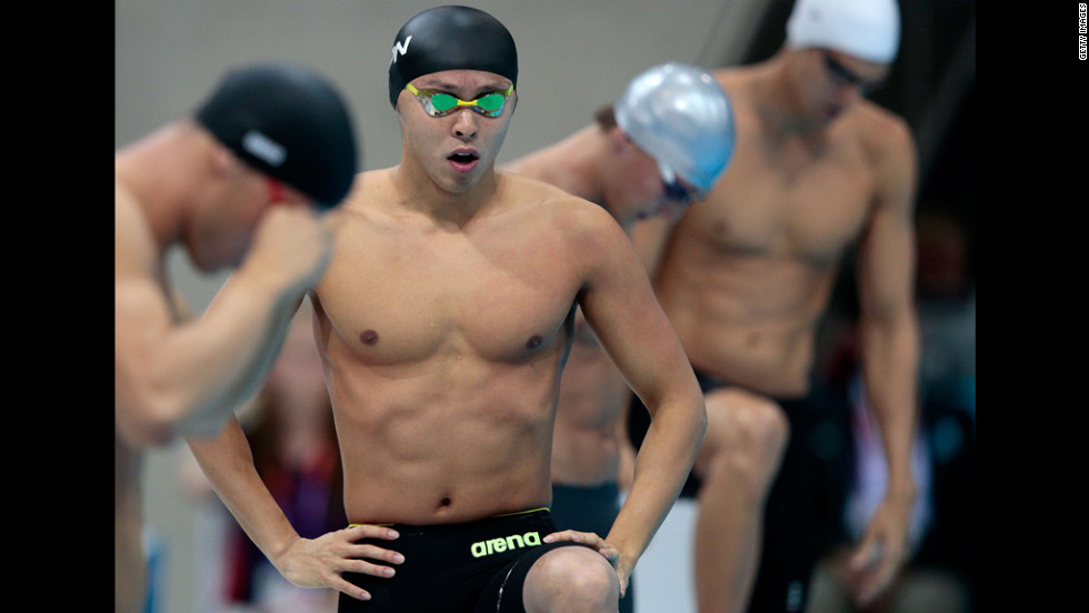Kosuke Kitajima of Japan gets set for the start of the men's 200-meter breaststroke semifinal.