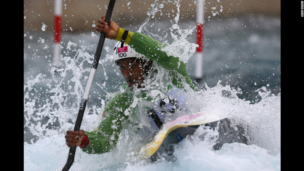 Benjamin Boukpeti of Togo competes in the men's kayak semifinal.
