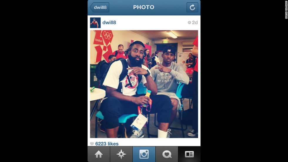Deron Williams snapped this pic of teammates James Harden, left, and Chris Paul after the team's first win in London.