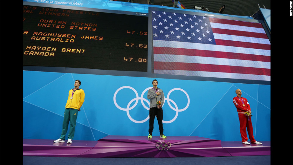From left, silver medalist James Magnussen of Australia, gold medalist Nathan Adrian of the United States and Brent Hayden of Canada stand with their medals on the podium during the medal cermony for the men's 100-meter freestyle final.