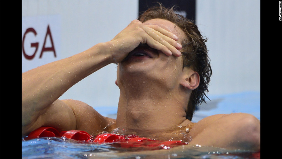 U.S. swimmer Nathan Adrian reacts after winning the men's 100-meter freestyle.