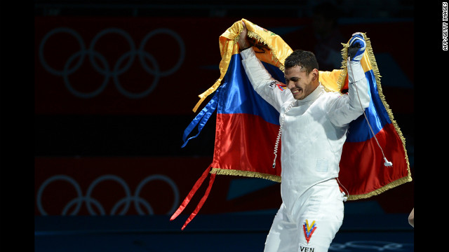 Venezuela's Ruben Limardo celebrates his victory over Norway's Bartosz Piasecki at the end of their Men's Epee Gold Medal Bout in London, England on Wednesday.