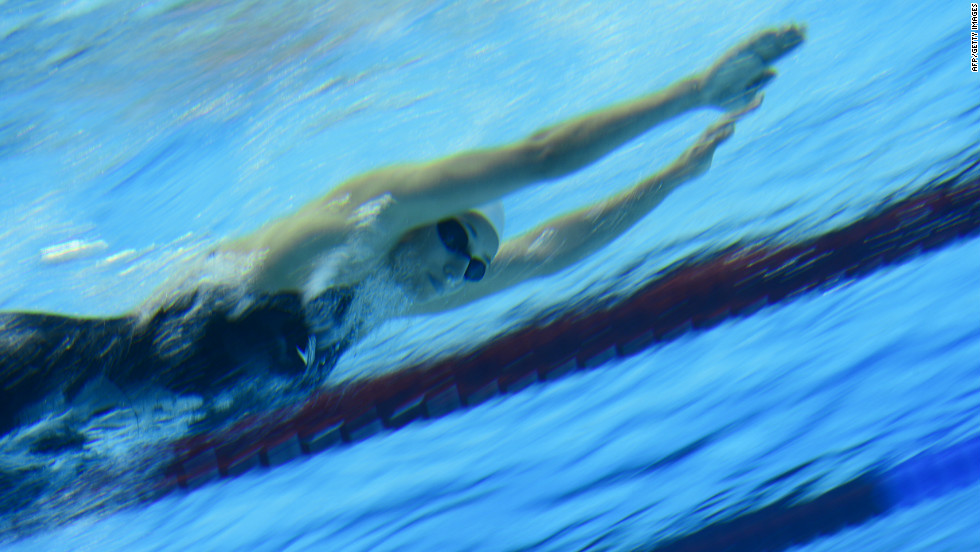 Dana Vollmer competes in the women's 4x200-meter freestyle relay.