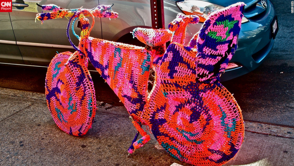 "The <a href=""http://ireport.cnn.com/docs/DOC-795381"">crocheted bicycle</a> was a part of an art installation by a Polish artist name Agata Oleksiak, according to iReporter Lulis Leal. She captured this photograph in New York, New York."