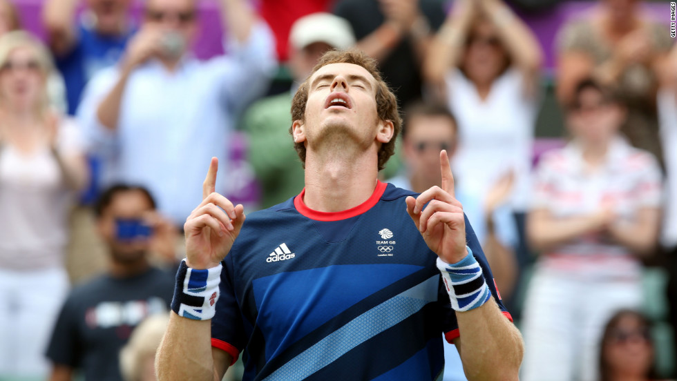Andy Murray of Great Britain celebrates after defeating Nicolas Almagro of Spain in the men's singles tennis quarterfinal.