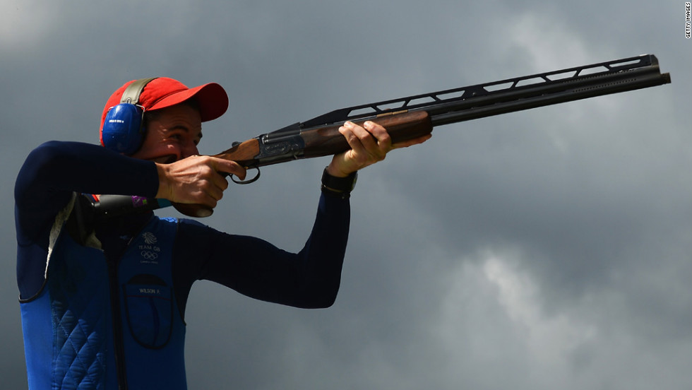 Britain's Peter Robert Russell Wilson competes in the men's double trap shooting qualification.