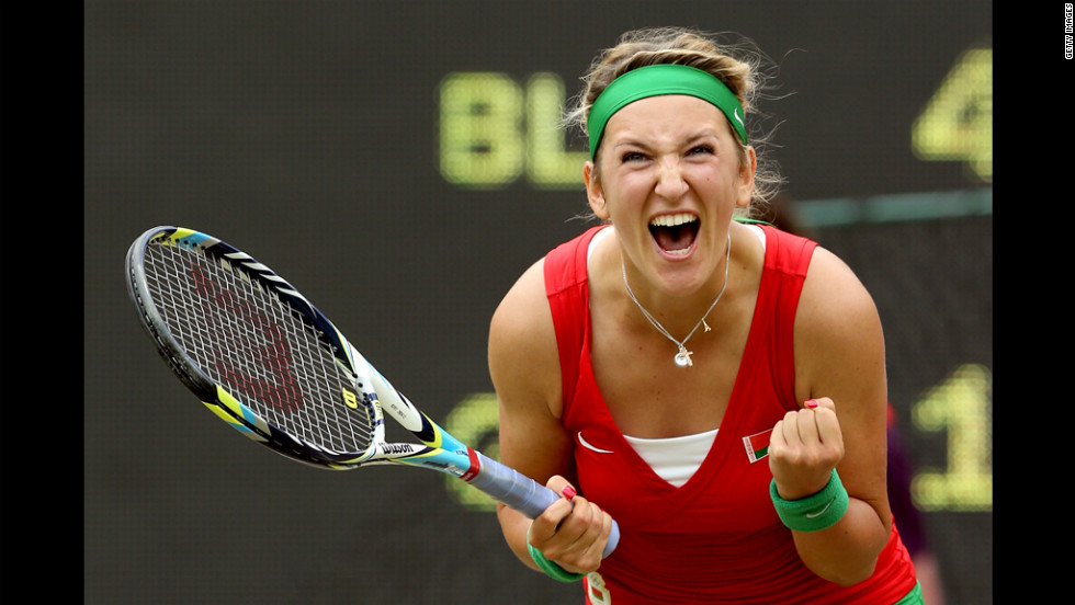 Victoria Azarenka of Belarus celebrates after winning in the women's singles tennis quarterfinals against Angelique Kerber of Germany.