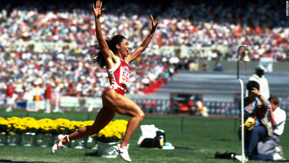 Florence Griffith-Joyner still holds the women's world records for 100m and 200m, winning three gold medals and a silver at the 1988 Seoul Olympics. She died aged just 38, from a heart seizure while sleeping.