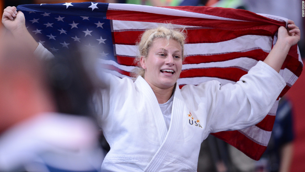 United States' Kayla Harrison reacts after winning the match.