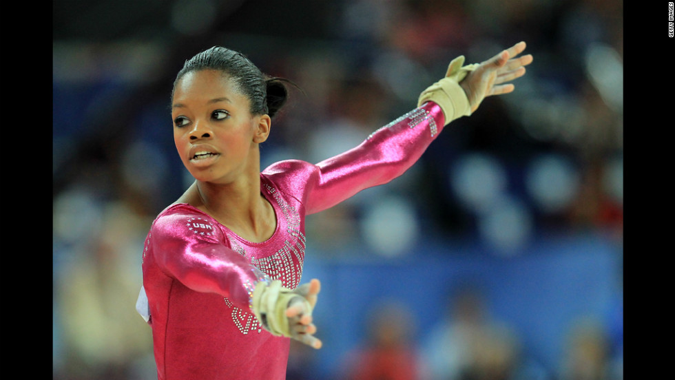 Gabby Douglas of the United States performs the floor exercise in the  gymnastics women's individual all-around final.