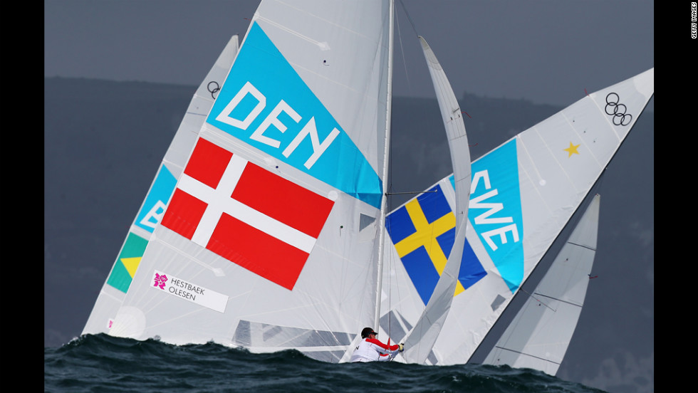 Denmark's Claus Olesen competes in the men's star sailing in Weymouth, England.