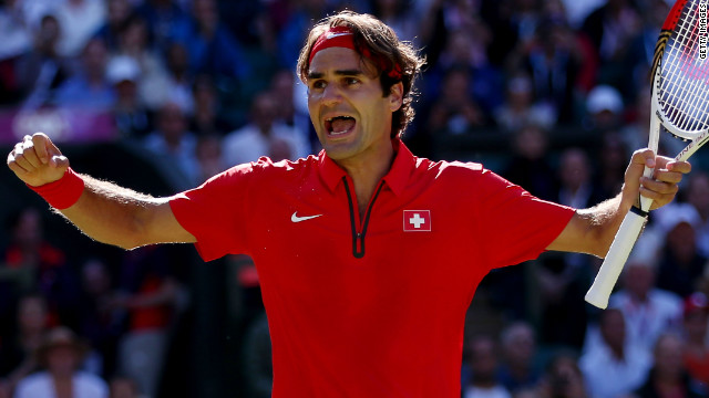 Roger Federer shows how much victory means to him as he reaches the Olympic men's singles final at Wimbledon.