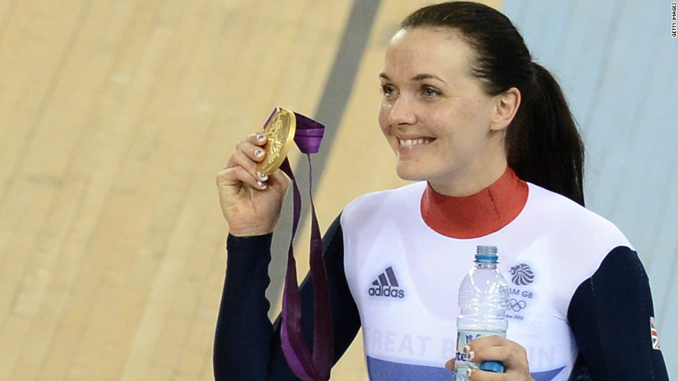 Victoria Pendleton proudly shows off the gold medal she claimed in the women's keirin. She ended her career on a high note at the London 2012 Games taking second place in the women's sprint finals. Austraila's favorite cyclist Anna Meares took the gold home.