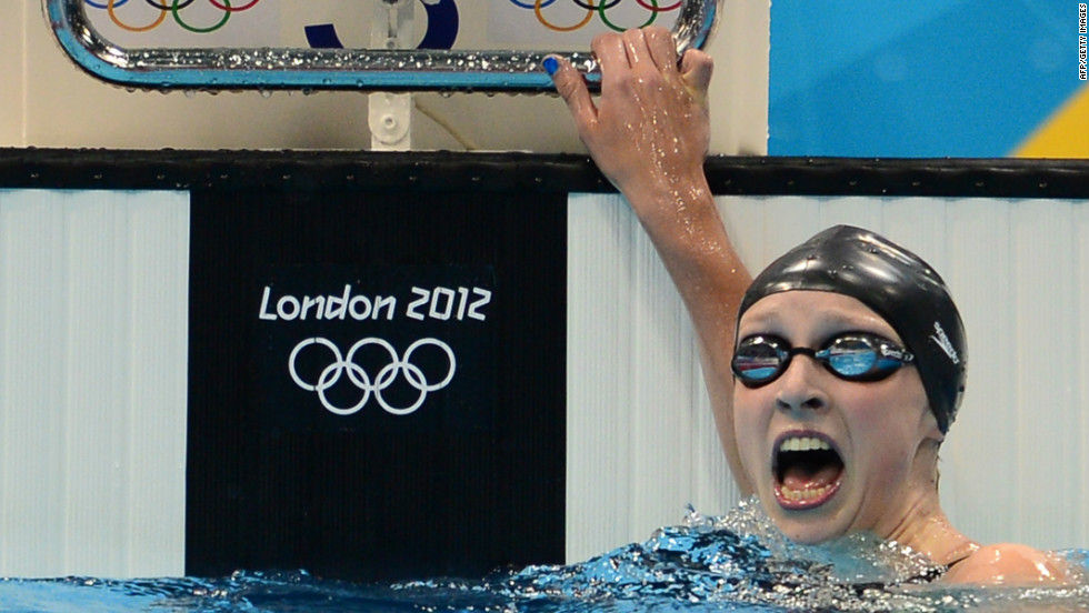 Fifteen-year-old Katie Ledecky reacts after winning the women's 800-meter freestyle final on Friday, August 3.