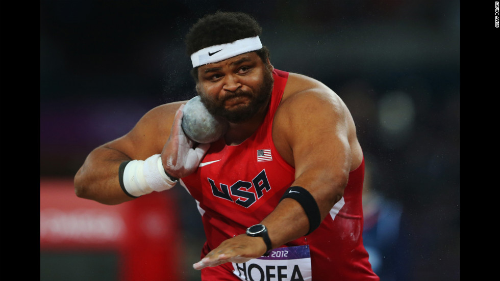 Reese Hoffa of the United States competes in the men's shot put final.