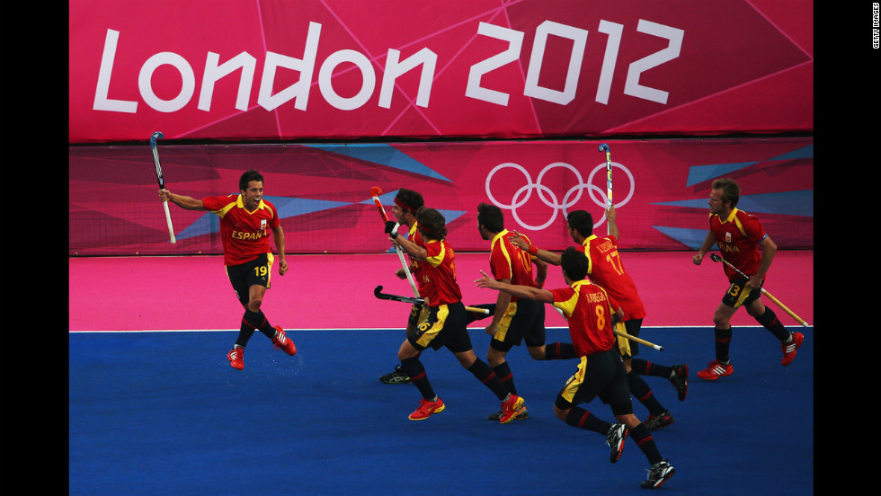 Marc Salles of Spain celebrates after scoring a goal during the men's hockey match against South Africa.