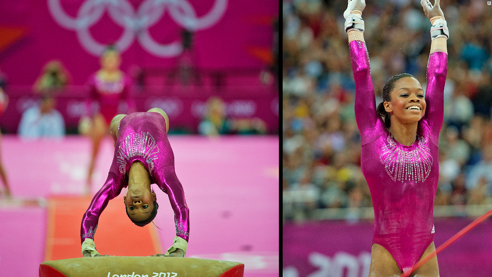 Douglas became the first U.S. gymnast to win both the team and individual all-around events at the same Games. She also became the fourth American to win the title, and the third in a row.