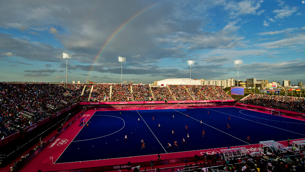A rainbow breaks out in the sky above the Olympic Park's Riverside Arena as Great Britain's women take on Belgium in their latest preliminary game.