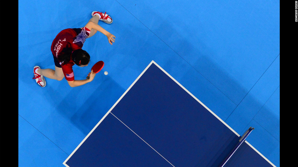 American Ariel Hsing competes in the women's team first-round table-tennis match.