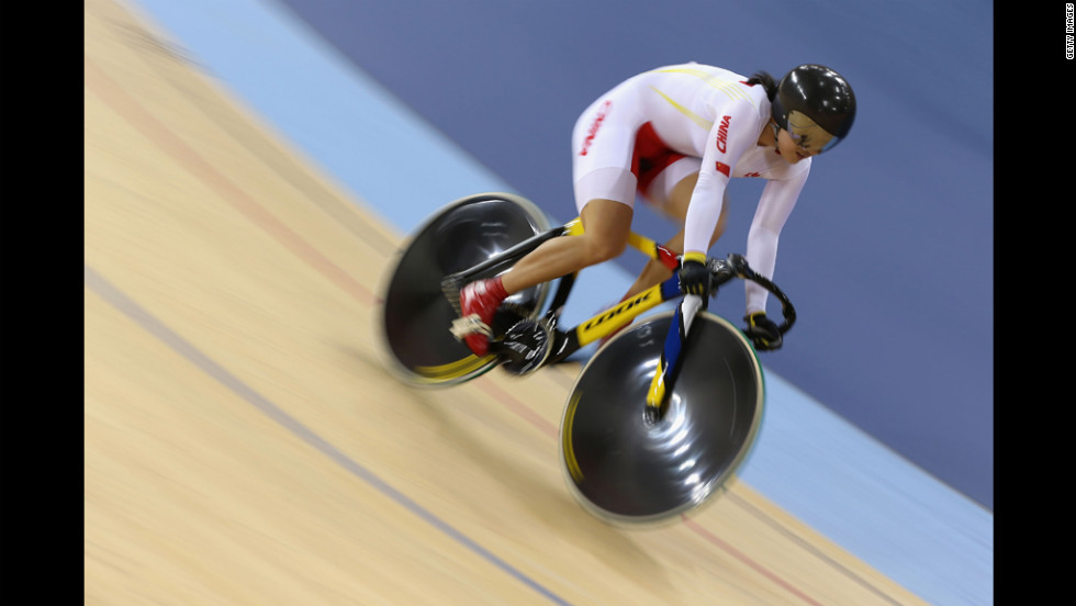 Shuang Guo of China competes during the women's sprint track cycling qualifying.