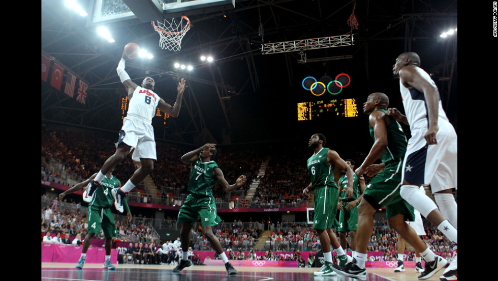 LeBron James jumps for two in the first half during the men's basketball preliminary round match against Nigeria. The U.S. team beat Nigeria 156-73, breaking the Olympic record for most points scored in a basketball game.