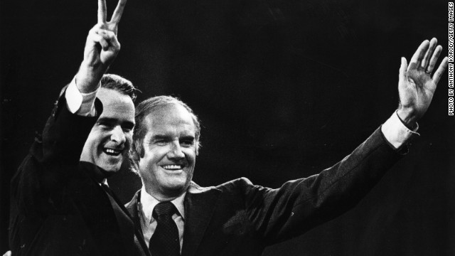 Sen. George McGovern, right, and running mate Sen. Thomas Eagleton during the 1972 campaign.