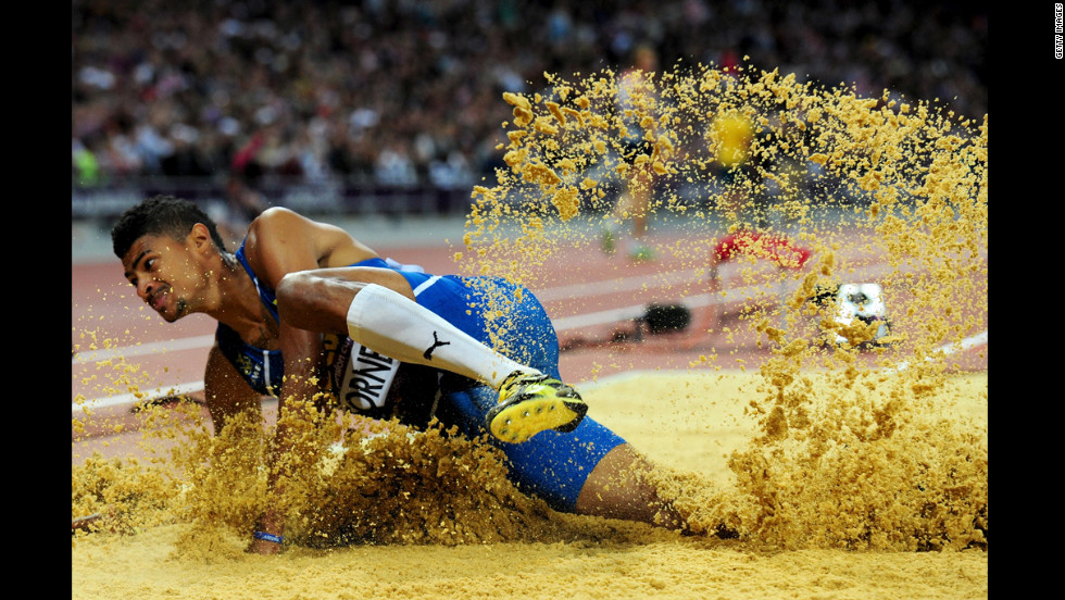 Michel Torneus of Sweden competes in the men's long jump final.
