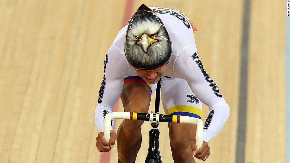 Juan Esteban Arango Carvajal of Colombia sprints during the men's omnium track cycling 250-meter time trial.