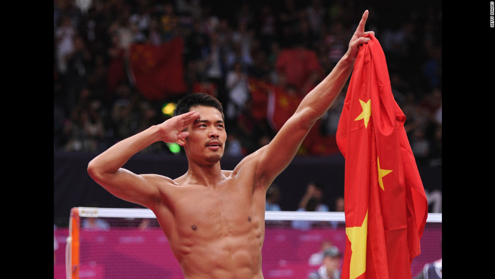 Lin Dan of China celebrates winning his men's singles badminton gold medal match against Chong Wei Lee of Malaysia.