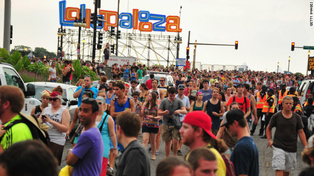 Fans gather at Grant Park, Chicago for the Lollapalooza music festival on August 4, 2012.