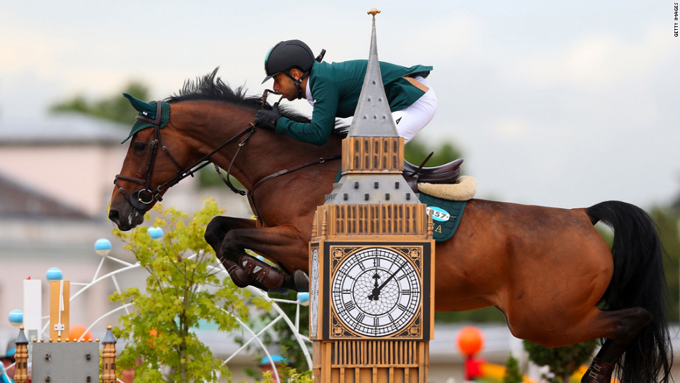 Kamal Bahamdan of Saudi Arabia riding Noblesse Des Tess jump over an obstacle in the second qualifier of individual jumping.