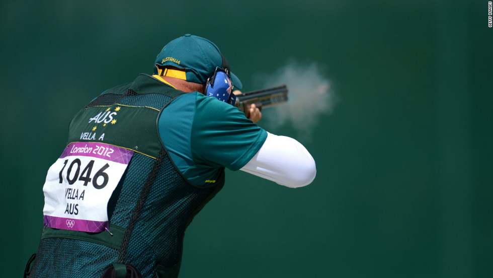Adam Vella of Australia takes part in the men's trap shooting qualifying Monday.