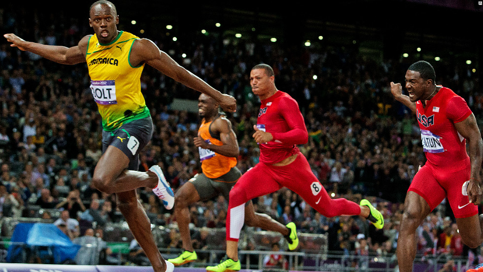 There was time for one quick look across before Bolt crossed the line to win gold ahead of Blake in second and American Justin Gatlin in third.