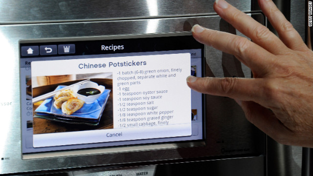 A connected refrigerator can, in theory, check your refrigerator for the ingredients you'll need for a particular recipe.