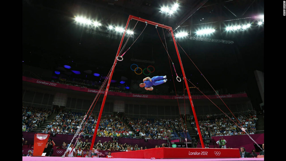 Matteo Morandi of Italy competes on the rings.