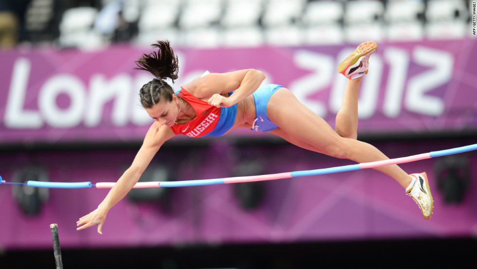 Russia's Yelena Isinbayeva practices ahead of the women's pole vault final.