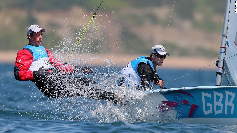 Luke Patience, left, and Stuart Bithell of Great Britain compete in the men's 470 sailing event in Weymouth, England.