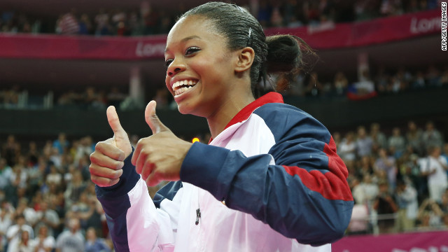 U.S. gymnast Gabrielle Douglas celebrates after winning the artistic gymnastics women's individual all-around final in London.