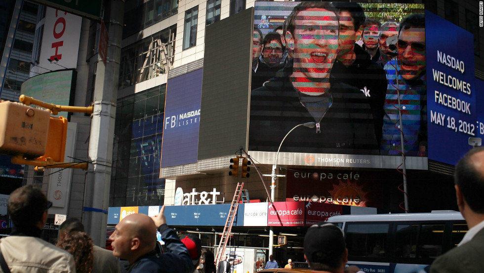 Facebook's May debut as a public company was one of 2012's biggest blunders. Expectations for the company's stock were huge, but by September it was trading at less than half its initial price. Here, founder Mark Zuckerberg is shown on a screen in Times Square after ringing the opening Nasdaq bell on May 18.