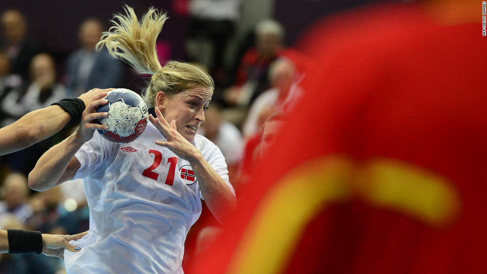 Norway's Goril Snorroeggen shoots during the women's quarterfinal handball match against Brazil. Norway won 21-19.