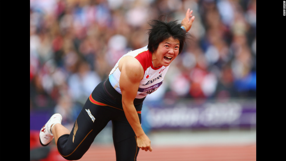 Yuki Ebihara of Japan competes in the women's javelin qualification.