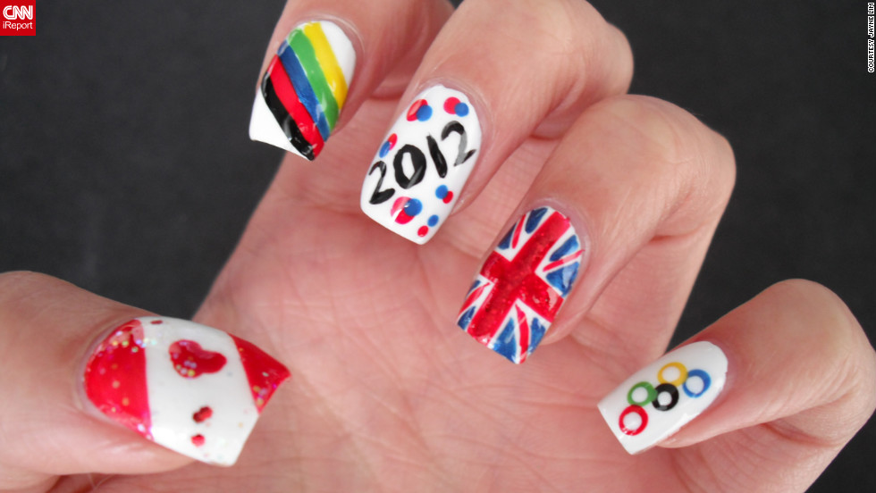 "Jayne Lim designed her manicure to represent her home country of Canada and her host country, Great Britain. ""What better way to <a href=""http://ireport.cnn.com/docs/DOC-824372"">celebrate and show support</a> for the London Olympics than with nail art?"" said the Vancouver resident. ""It lasts longer [and] is more subtle than face paint, and I can't be wearing Olympic regalia 24/7!"""