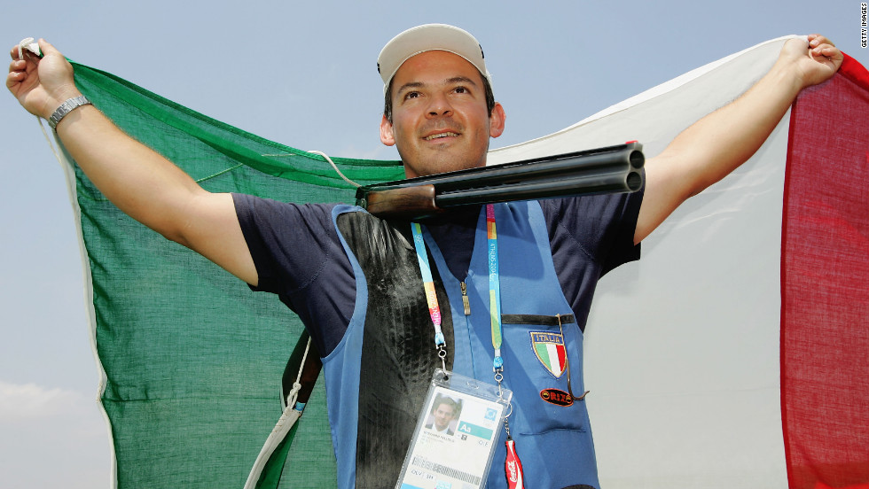 Italy's Giovanni Pellielo, 42, won Olympic medals for trap shooting in 2000, 2004 and 2008. He's back again to try his luck in London.