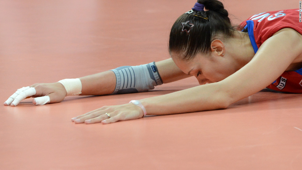 Russia's Ekaterina Gamova tries out the Talking Floor at an Olympic event.