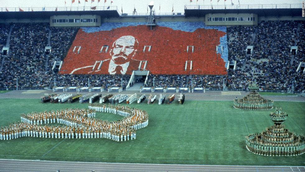 A further 55 countries joined the boycott of the opening ceremony in Moscow. Here a choreographed show from the crowd and performers produce a hammer and sickle and the face of Lenin.